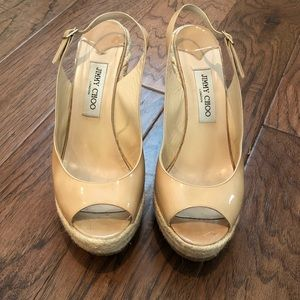 Jimmy Choo Nude Patent Espadrilles Wedges 41